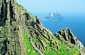 Skellig Michael Ancient stone stairway leads to Celtic Christian monastery at top of island of Skellig Michael, Kerry, Ireland