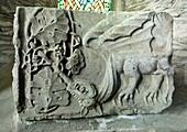Stone carved dragon motif inside St Brigid's Cathedral, County Kildare, Ireland