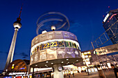 Berlin Fernsehturm and World Clock at night, Alexanderplatz, Berlin, Germany