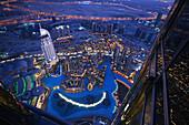 View from the Observation Deck, At The Top of Burj Khalifa, Burj Chalifa, Downtown Dubai, The Address Hotel, Dubai, United Arab Emirates, UAE
