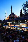 Blue Mosque and Cavalry Bazaar at night, Istanbul, Turkey