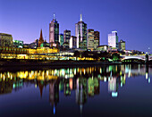 Central Business District from Yarra River at night, Melbourne, Victoria, Australia