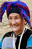 Portrait of Hani woman, Yuanyang - near, China