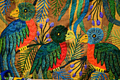Colourful embroidery of Quetzal birds, Santiago de Atitlan, Guatemala