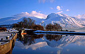 View over canal to Ben Nevis, Corpach, Highland, UK - Scotland