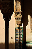 Detail, column, cathedral in oriental style, Granada, Alhambra, Andalusia, Spain, Mediterranean Countries