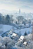 Cityscape in winter, Freiburg im Breisgau, Black Forest, Baden-Wurttemberg, Germany