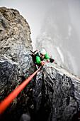 Mountaineer at Hintergrat, Ortler, Trentino-Alto Adige/Südtirol, Italy
