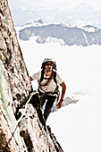 Mountaineer at Ostgrat, Wilde Leck, Stubai Alps, Tyrol, Austria