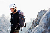 Female mountaineer at Ellmauer Halt, Wilder Kaiser, Kaiser Mountain Range, Tyrol, Austria