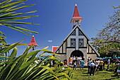 Notre Dame Auxiliatrice chapel under blue sky, Cap Malheureux, Mauritius, Africa