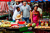 People at the market in St. Paul, La Reunion, Indian Ocean