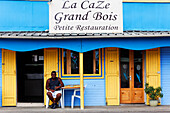 Terrace of a creole bistro, Grand Bois, La Reunion, Indian Ocean