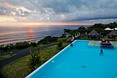 Pool of the Hotel and Spa Palm at sunset, Petite Ile, La Reunion, Indian Ocean