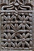 Detail in a carved wooden door, Stonetown, Zanzibar City, Zanzibar, Tanzania, Africa