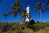 Lighthouse and Lodge under blue sky, Chumbe Island, Zanzibar, Tanzania, Africa