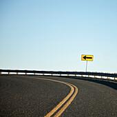 Road Curving Left, Rural Eastern Washington, USA