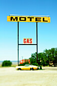 Old Motel and Gas Signs, Moriarty, New Mexico, USA