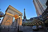 Hotel Paris-Paris on the Strip in the evening, Las Vegas, Nevada, USA, America