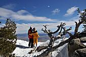 Couple looking at the Nevada desert, Skiarea Heavenly at the southern Lake Tahoe, North California, USA, America