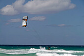 Kite surfer at Playa del Este, Santa Maria Del Mar, near Havanna, Cuba, Greater Antilles, Antilles, Carribean, West Indies, Central America, North America, America