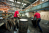 Fassmacher in der Böttcherei Speyside Cooperage, Craigellachie, Aberdeenshire, Schottland