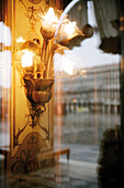 Lamp and view from Cafe Florian, Venice, Italy
