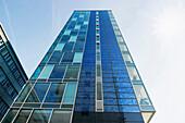 High-rise building with photovoltaic panels, Freiburg im Breisgau, Baden-Wurttemberg, Germany