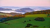 View over Berlingen and Kasselburg near Gerolstein, Eifel, Rhineland-Palatinate, Germany, Europe