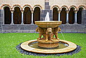 Abtei Maria Laach, Monastery, Fountain, Löwenbrunnen, Paradise, Hocheifel, Vulkaneifel, Eifel, Rhineland-Palatinate, Germany, Europe