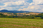 View at agricultural landscape with Welling, Eifel, Rhineland-Palatinate, Germany, Europe