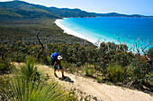 Hiker above Waterloo Bay, Wilsons Promontory National Park, Victoria, Australia