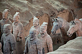 Soldiers of The Terracotta Army of the First Emperor of China, near the mausoleum of Shi Huangdi near Xi'an, Shaanxi Province, People's Republic of China