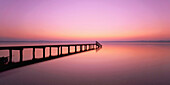 Jetty of Buchscharn at lake Starnberger See in the evening, Upper Bavaria, Germany, Europe