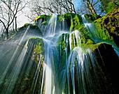 Low angle view of Schleier falls, Pfaffenwinkel, Upper Bavaria, Germany, Europe