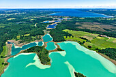 Aerial view over lakes Osterseen, Seeshaupt, Starnberger See, Upper Bavaria, Germany, Europe