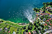 Aerial view of the town of Tutzing on the bank of lake Starnberger See, Upper Bavaria, Germany, Europe