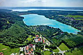 Aerial view of lake Pilsensee in the sunlight, Province of Starnberg, Upper Bavaria, Germany, Europe