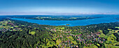 Aerial view of Poecking at lake Starnberger See, Starnberg on the left, Seeshaupt on the right, Upper Bavaria, Germany, Europe