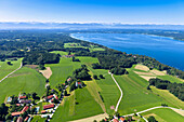 Aerial view of Holzhausen, lake Starnberger See and Zugspitze, Upper Bavaria, Germany, Europe