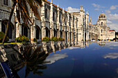 Exterior view of the Jeronimos monastery in the sunlight, Lisbon, Portugal, Europe
