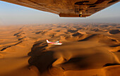 Aerial view of an aircraft flying over the desert, Sossusvlei, Namibia, Africa