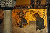 Fresco inside of the Hagia Sophia, Istanbul, Turkey, Europe