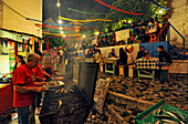 Street festival at Alfama quarter in the evening, Lisbon, Portugal, Europe