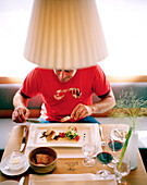 Guest at the dinner table, Hotel Post Bezau, Bregenz, Vorarlberg, Austria