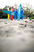 Teen members of the Arcadian Surf Life Saving Club at Alma Bay, eastcoast of Magnetic island, Great Barrier Reef Marine Park, UNESCO World Heritage Site, Queensland, Australia