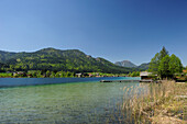 Wooden landing stage and boathouse at lake Weissensee, Carinthia, Austria, Europe
