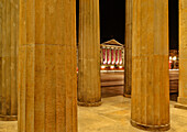 Columns of the Neue Wache and German State Opera at night, Unter den Linden, Mitte, Berlin, Germany, Europe