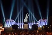 Illuminated Bavaria statue und hall of fame at night, Munich, Bavaria, Germany, Europe