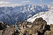 Observation platform on the top of Gaislachkogel, Winter in Tyrol, Soelden, Oetztal, Tyrol, Austria